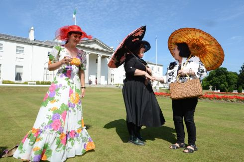 Susan Hughes from Belfast with Mary Hughes also from Belfast and Avril Gillic, from Kells, Co Meath at the Community Day Garden Party hosted by President Michael D Higgins, yesterday. Photograph: Cyril Byrne/The Irish Times