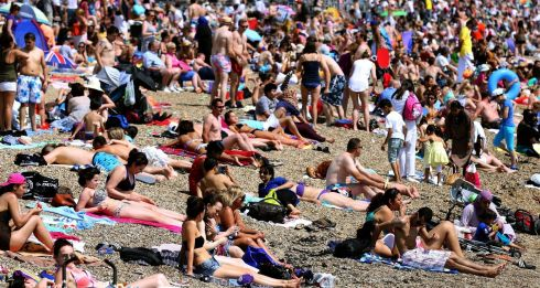 Members of the public pack onto the beach at Southend-on-Sea. Photograph: Chris Radburn/PA Wire