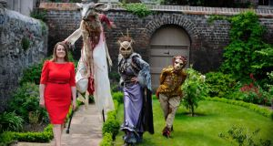 Rosemary Collier, director of The Kilkenny Arts Festival, with members of Macnas. Photograph: Aidan Crawley