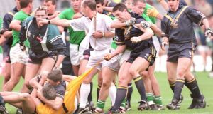This year marks the 15th anniversary of the resumption of the International Rules series, although there have been some bumps along the way such as this dispute between the sides in 1998. IPhotograph: Matt Kavanagh/The Irish Times