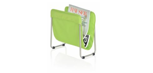 This magazine rack (38cm by 36cm by 20cm) with a stainless steel frame has a woven nylon sling and is down from €79.50 to €50 at The Blue Door (01-2301894, thebluedoor.ie) in Monkstown.