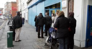 Minister for Social Protection Joan  Burton said the live register was slowly coming down – now at 13.6 per cent – but not in some of the communities worst affected by unemployment. Photograph: Cyril Byrne/The Irish Times
