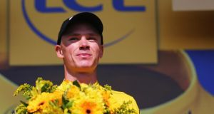 Chris Froome after defending the overall race leader's yellow jersey during stage 11 of the Tour de France. Photograph: Bryn Lennon/Getty Images