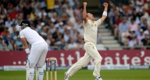 Australia's Peter Siddle  celebrates after the dismissal of England's Matt Prior during the first Ashes cricket Test match at Trent Bridge cricket ground in Nottingham, England, yesterday. Photograph: Reuters