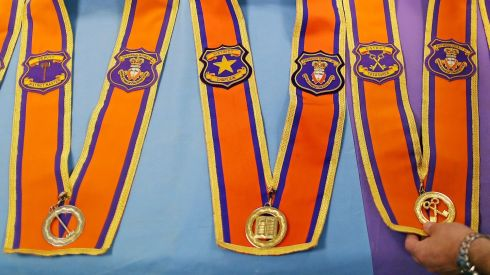 Detail of sashes. Photograph: Julien Behal/PA Wire