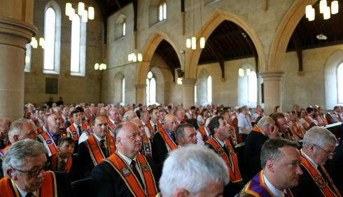 Orange Order members at the service in Drumcree parish church. Photograph: Julien Behal/PA Wire