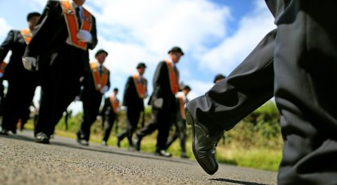The Orange Order parades along Drumcree road outside Portadown. Photograph: Julien Behal/PA Wire