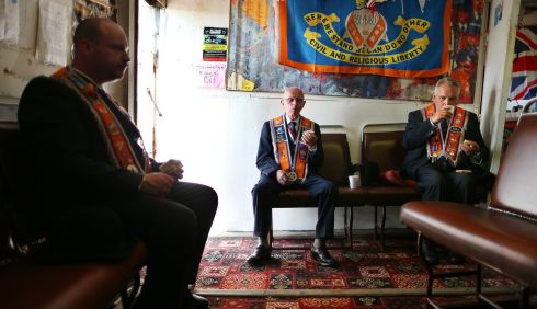 Orangemen take refreshments in the tea shack below Drumcree church. Photograph: Julien Behal/PA Wire