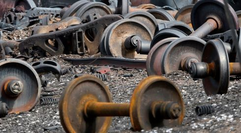 A heap of axle gear from the destroyed train.  Photograph: Mathieu Belanger/Reuters