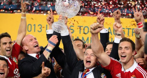 Paul O'Connell and  Brian O'Driscoll raise the the Tom Richards Cup after the Lions won the series over Australia in Sydney. Photograph: Photograph: David Rogers/Getty Images
