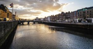 Dublin's river Liffey, which is at the heart of James Joyce's Finnegans Wake, and riverrun, which was created by Olwen Fouéré. Photograph: Angela Sorrentino/Getty Images