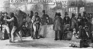 Irish emigrants in 1851  pay their passage money at the emigration agents' office in Cork before setting off for America. One  factor  likely to explain the weakness of indigenous industry is depopulation from the 1840s to the 1960s. Photograph: HultonArchive/Illustrated London News