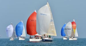 Competitors with their Spinnakers up  in the opening race of the Volvo Dún Laoghaire Regatta on the North Course. Photograph: Alan Betson/The Irish Times