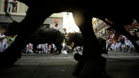 A worm's eye view of the chaos. Photograph: Joseba Etxaburu/Reuters