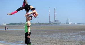 Tarrabelle and Rusty, of Zap Circus, from Australia on Sandymount Beach, Dublin as  street performers prepared to take part in championship this weekend Photograph: Dara Mac Dónaill / The Irish Times