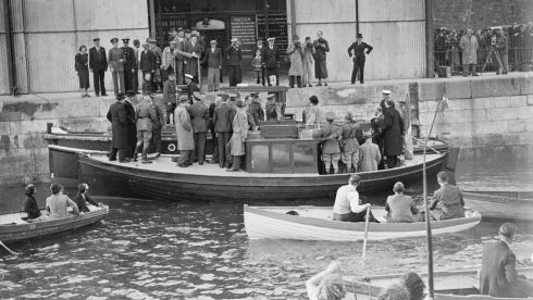 Then taoiseach Éamon de Valera among a group arriving at Spike Island on July 11th, 1938, for the handover. Photograph: National Library of Ireland