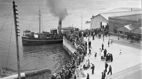 Soldiers leave for Spike Island during the evacuation on July 11th, 1938. Photograph: National Library of Ireland