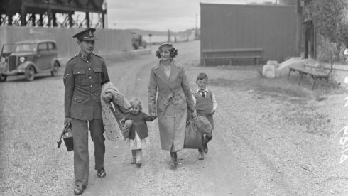 British Army Cpl EJ Thomas and his family during the evacuation of Spike Island on July 11th, 1938. Photograph: National Library of Ireland