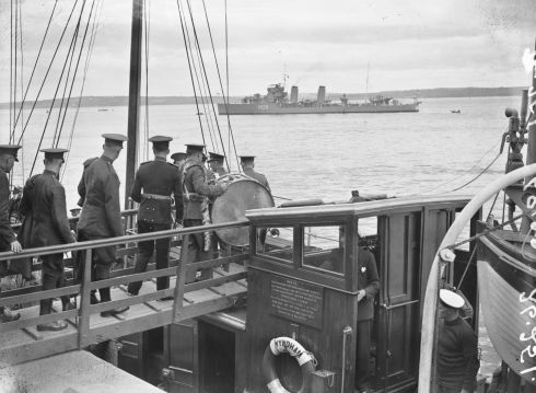 Irish Army soldiers leave for Spike Island. Photograph: National Library of Ireland