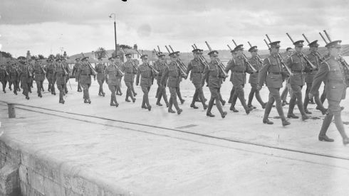 British troops marching in preparation for departure. Photograph: National Library of Ireland