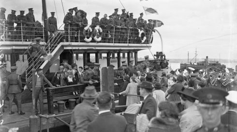 British troops on a tender off Cork on July 11th, 1938. Photograph: National Library of Ireland
