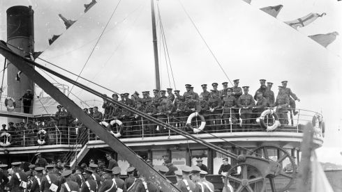 British troops prepare for departure. Photograph: National Library of Ireland