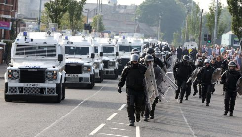 The PSNI marshals its forces ahead of the parades. Photograph: Paul Faith/PA Wire