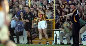 Henry Shefflin prepares to enter the fray against Tipperary at Nowlan Park last week as manager Brian Cody looks on. Shefflin's return to fitness greatly increases Kilkenny's options in attack. Photo: Donall Farmer/Inpho