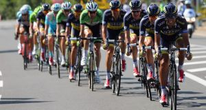 Team Saxo-Tinkoff drives the pace at the head of the group during stage 13 of the  Tour de France. Their teamwork was impressive in the day's final break. Photograph:  Bryn Lennon/Getty Images