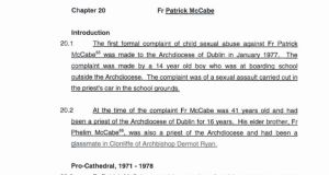 "The Murphy report said ""the DPP's office, in an internal memorandum, expressed the view that Fr Patrick McCabe should be prosecuted, were he available to be prosecuted""."