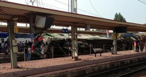 A view of a derailed intercity train after an accident at Bretigny-sur-Orge train station near Paris. Photograph: Reuters