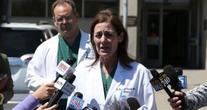 San Francisco General Hospital chief of surgery Dr Margaret Knudson (R) announces the death of a third victim from the crash of Asiana Airlines flight 214 at San Francisco General Hospital. Photograph: Justin Sullivan/Getty Images.