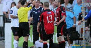 Bohemians' Owen Heary is sent off against Dundalk. Photograph: Lorraine O'Sullivan/Inpho