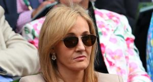 JK Rowling watches a match at the Wimbledon Lawn Tennis Championships at the All England Lawn Tennis  Club last month. Photograph: Julian Finney/Getty Images.