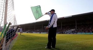 Richie Power's penalty  raises the green flag at Semple Stadium. Photograph: Lorraine O'Sullivan/Inpho
