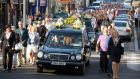 The funeral cortege of murdered brothers Tom and Jack Blaine in Castlebar, Co Mayo, yesterday. Photograph: Keith Heneghan/Phocus