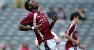 Isreal Ilunga of Westmeath in action against Kildare in the Leinster final yesterday. Photograph: Inpho