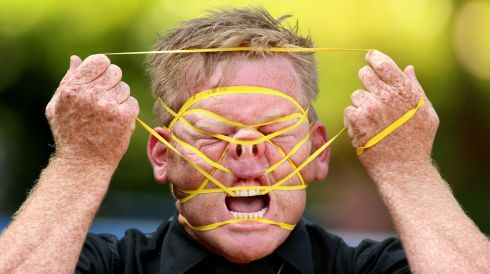 New Zealand performer Shay Horay, known as the Rubberband Boy, takes part in the Street Performance World Championship at Merrion Square, Dublin, over the weekend. Photograph: Niall Carson/PA Wire