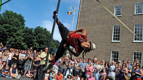 Panco Libre gives his performance at Merrion Square, Dublin. Photograph: Dave Meehan
