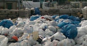 Litter bags awaiting removal yesterday. Photograph: Fingal County Council