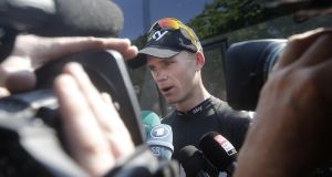 Overall leader Christopher Froome faces the media during rest day.