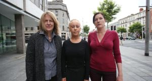 Cherie Jimenez, Justine Reilly and Rachel Moran outside the Volunteering Centre on O'Connell St, Dublin, at the launch yesterday of lobby group Space International (Survivors of Prostitution-Abuse Calling for Enlightenment). Photograph: Julien Behal/PA Wire