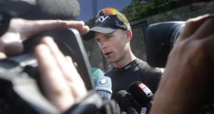 Overall Tour de France leader Chris Froome answers reporters' questions on the rest day of the Tour de France  in Orange, southern France. Photograph: Laurent Cipriani/AP