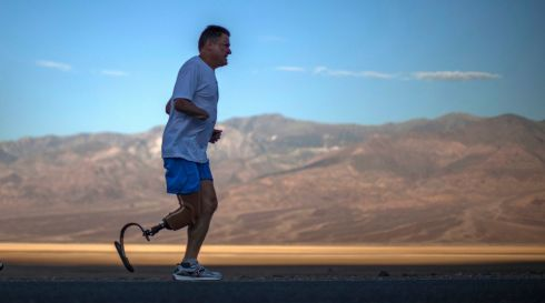 He's BAD enough: British double-amputee Chris Moon (51), competes in the Badwater Ultramarathon in Death Valley National Park, California. The 135-mile (217km) race, which bills itself as the world's toughest foot race, goes from Death Valley to Mt Whitney, California in temperatures which can reach 55 Celsius. Photograph: Lucy Nicholson/Reuters
