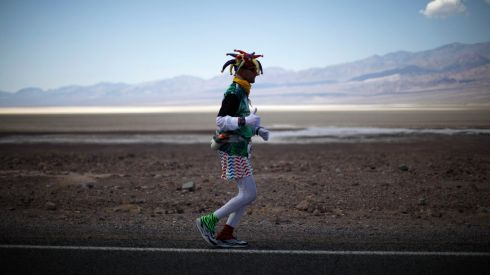 Wacky costumes seem to be pretty common here, as Ed Ettinghausen (50) demonstrates. Photograph: Lucy Nicholson/Reuters
