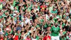 Limerick's Seamus Hickey and supporters celebrate against Cork in Sunday's Munster final at the  Gaelic Grounds, Limerick. Photograph: Inpho