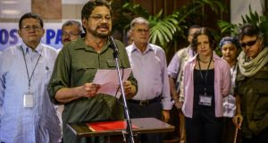 Colombian FARC-EP Commander Ivan Marquez reads a statement at the Convention Palace in Havana in June. Photograph:  Adalberto Roque/AFP/Getty Images