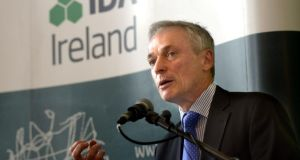 Minister for Jobs, Enterprise and Innovation Richard Bruton at the IDA's mid-term review briefing at the Merrion Hotel Dublin. Photograph: Brenda Fitzsimons/The Irish Times