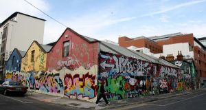 Graffiti pictured along Creighton Street and Windmill Lane, Dublin in 2008. Photograph: Aidan Crawley