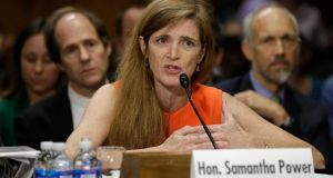Samantha Power, the nominee to be the US representative to the United Nations, testifies before the Senate foreign relations committee  in Washington, DC yesterday. Power has received broad bipartisan support for her nomination. Photograph: Win McNamee/Getty Images